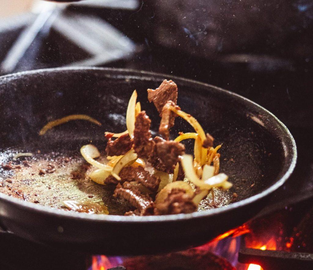 pan frying food