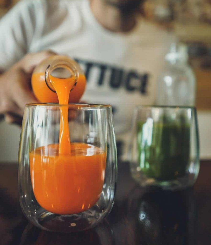 orange juice and green juice