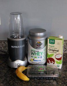 nutribullet, protein, coconut milk, banana, blueberries